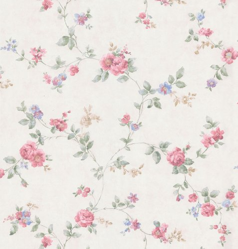 Brewster 426-6329 Cameo Rose IV Swag Trail Wallpaper, 20.5-Inch by 396-Inch, Red