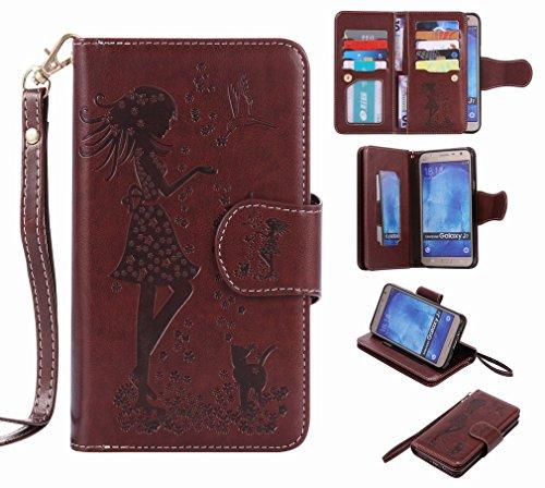 Cover Cuero Funda Ranura Diseño Estuches J700 Chica Tarjetas Carcasa J7 Protector Yiizy Repujado Para Pu Billetera marrón Samsung Estilo Galaxy Cáscara Piel TIq7wOx