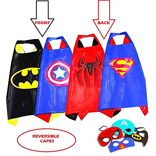 Superhero Capes for Kids, Girls & Boys | Pretend Play 2 Reversible Capes & 4 Masks Halloween, Birthdays Party Favors