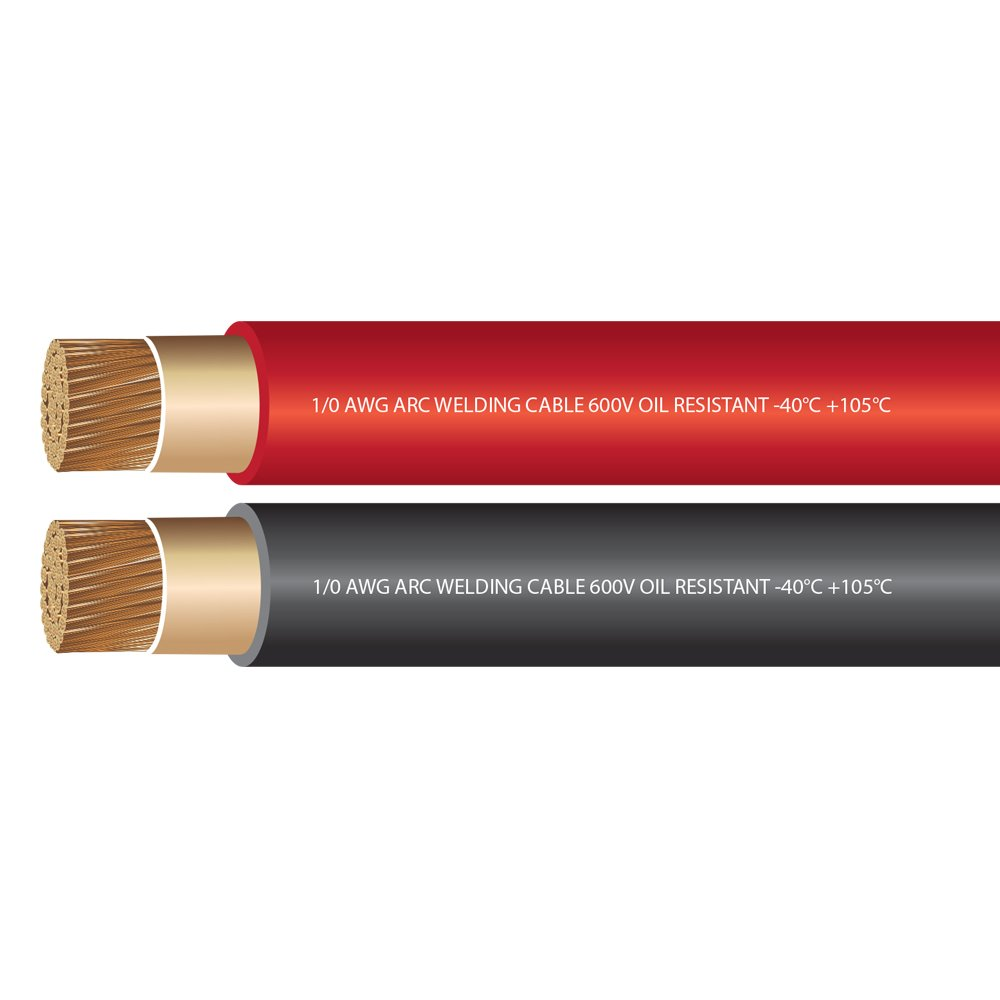 EWCS 1/0 Gauge Premium Extra Flexible Welding Cable 600 Volt Combo Pack - Black+Red 15 Feet of Each - Made in the USA
