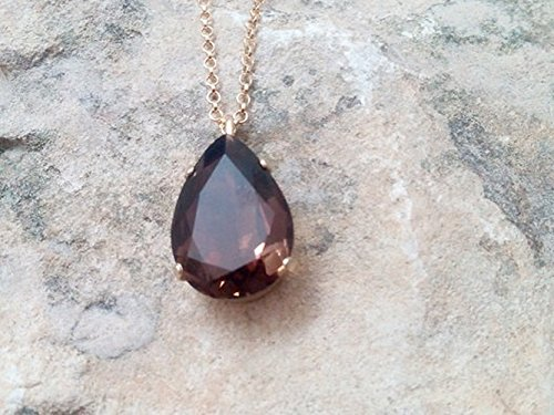 Smoky Quartz necklace,gold pendant,cocktail necklace,Smokey Topaz necklace,gemstone necklace,brown drop pendant,bridal necklace