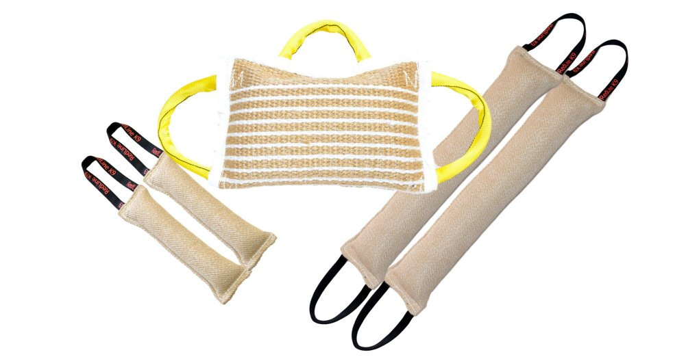 Bundle 1 - 3 Handle Jute Bite Pillow SOFT, 2 - 4'' X 24'' 2 Handle Jute Tug Toys, 2 - 3'' X 10'' 1 Handle Tug Toys - Redline K9