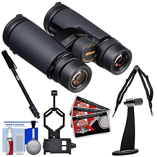 Nikon Monarch HG 10x42 ED ATB Waterproof/Fogproof Binoculars with Case with Harness + Smartphone Adapter + Monopod + Kit