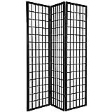 6 ft. Tall Window Pane Shoji Screen - Double Sided 3-Panel (Black) (72''H x 53''W x 1.5''D)