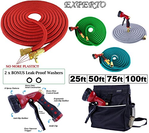 (25ft, Red) EXPERTO Expandable Garden Hose 3 in 1 KIT 25ft, 50ft, 75ft, 100ft, Silver, Red, Blue, Green - Expanding Hose + Heavy Duty 8 Pattern Metal Watering Nozzle + Hose Storage Bag)