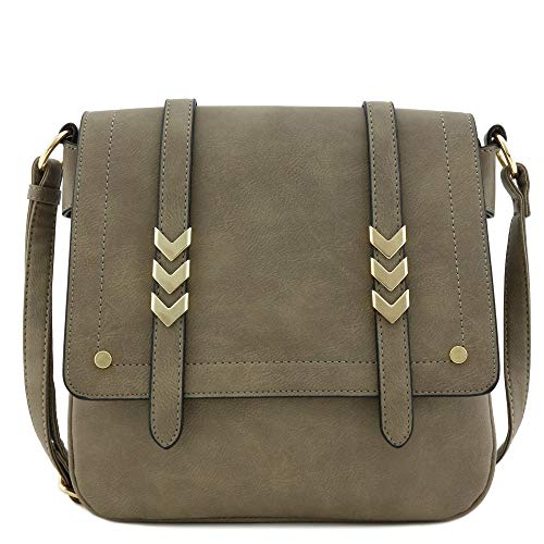 Double Compartment Large Flapover Crossbody Bag (Stone) (Satchel Flap Detail Bag Leather)