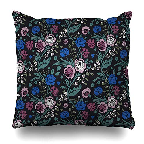 (Ahawoso Throw Pillow Cover Drawing Blue Floral Vintage Flower Bouquets Black Solemn Gray Autumn Blossom Botanical Design Garden Home Decor Pillowcase Square Size 16 x 16 Inches Zippered Cushion Case )