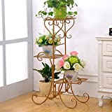 LIZX European - Style Iron Art Flower Racks, Multi - Layer Rust - Proof Flower Pots Rack, Living Room Balcony Indoor And Outdoor Plant Shelves ( Color : Gold )