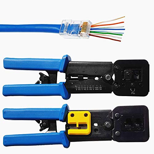 (RJ45 Crimp Tool for Pass through and legacy connectorsProfessional High Performance Crimper Tool by Ethernet Connector for pass through and legacy connectors and RJ-11, RJ-12 Legacy Connectors)