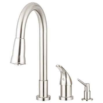 Pacific Bay Grandview Pull Down Kitchen Faucet with Soap Dispenser ...
