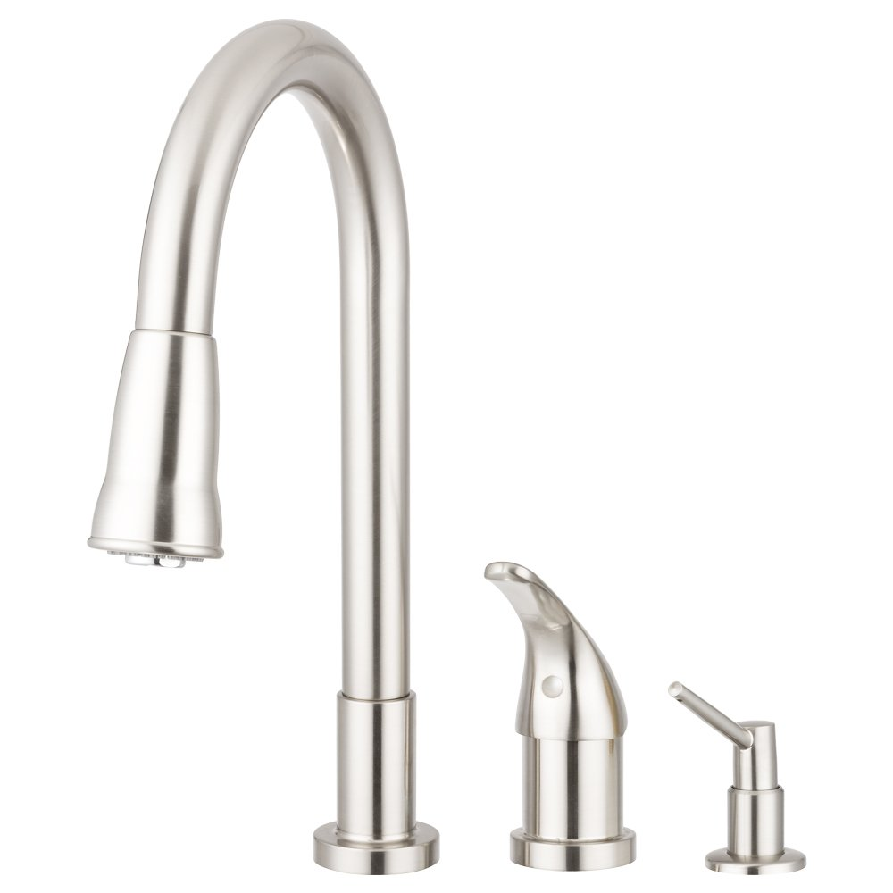 Pacific Bay Grandview Gooseneck-Style Kitchen Faucet in Brushed Satin Nickel – Features a Pull-Down Sprayer, Side Single-Lever Controls, and a Soap Dispenser – Enjoy this Beautiful Upgrade by Pacific Bay