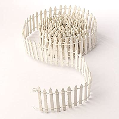 3 Yards of Bendable Flexable White Wooden Picket Fence for Fairy Gardens, Crafting and Creating