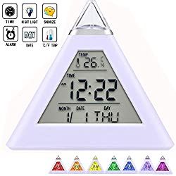 LED Digital Alarm Clock Electronic Thermometer Temperature Calendar Date Time Clock Color Changing Pyramid Night light Kids Clock