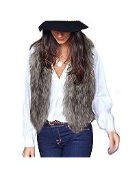 Kehen New Women's Fashion Autumn and Winter Warm Short Faux Fur Vests Sleeveless Front Open Coat