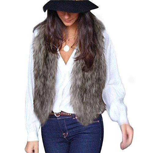Cheveux Femmes Veste Longs Manteau Gris Coversolate Sans Manches xxl Gilet wgYqRFH