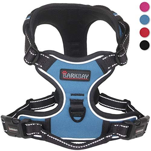 BARKBAY No Pull Dog Harness Large Step in Reflective Dog Harness with Front Clip and Easy Control Handle for Walking Training ()