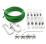 YOLOPLUS 16.4 FT Clothesline Tightener System 10 Clips Green Vinyl Jacketed Clothesline Wire All Purpose Laundry Line Dryer Rope Outdoor Workshop Garden House Farm Applications … (16.4 FEET)