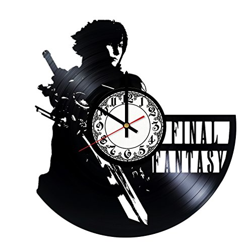 Final Vinyl Record Scratch (Handmade Vinyl Wall Clock Final Fantasy 7 Adventure Anime PS PC Games Vinyl Record Wall Clock)