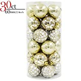 V&M VALERY MADELYN 30ct Shatterproof Christmas Ball Ornaments Decoration Luxury Collection Gold Beige, 6CM/2.36inch, 30 Metal Hooks Included, Themed with Tree Skirt(Not Included)