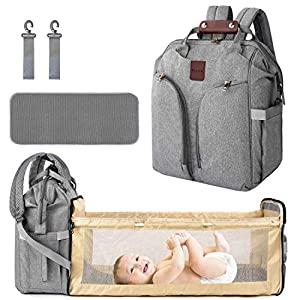 Diaper Bag Backpack, Baby Nappy Changing Bags Multifunction Travel Back Pack with Changing Pad, Insulated Pockets…