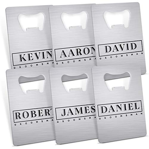 Personalized Wedding Gifts Card Bottle Opener for Groomsmen, Bridesmaid with Name & Date - 10 Different Designs - Groomsmen Gifts, Bridesmaid Gifts, Party Favors, Bachelorette Gifts - D 3 Set of 6