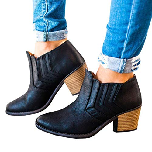 Corriee Deals Womens Vintage Pointy Toe Ankle Booties Chunky Stacked Heel Boots Black from Corriee Women Boots