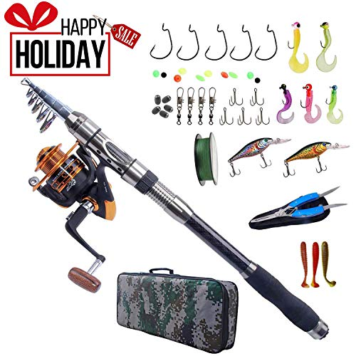 AGOOL Fishing Rod and Reel Combo Carbon Fiber Telescopic Spinning Portable Fishing Pole Fishing Gear with Line Lure Hooks Fishing Bag for Sea Saltwater Freshwater Boat ()