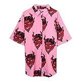 Focal20 Harajuku Demon Print Summer Women Blouse Punk Gothic Casual Loose Short Sleeve Shirt Tops Female Pink