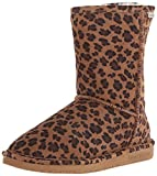 BEARPAW Women's Emma Short Winter Boot, Hickory Leopard, 6 M US