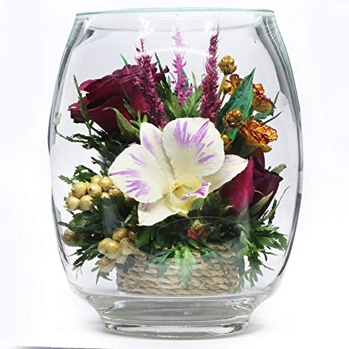 Fiora Flower | Long Lasting Real Roses and Orchids | Lasts up to 5 Years | Anniversary Floral Arrangement | Unique Present Gift (Tulipbud Vase)