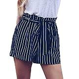 Womens Shorts, Libermall Women's Casual Stripe Printed Shorts Bandage Elastic Waist Trousers Short Pants Navy