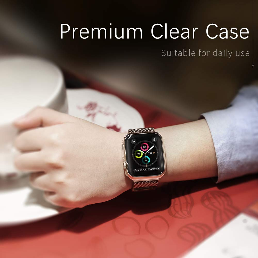 【2 Pack】 CTYBB Compatible with Apple Watch Series 4 Case with Screen Protector, Built in Soft Transparent TPU All Around Protective Cover, Replacement for iWatch Series 4 (40mm) by CTYBB (Image #7)