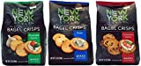 New York Style All Natural Baked Bagel Crisps Plain, Roasted Garlic and Cinnamon Raisin, 7.2 Oz. (Variety Pack of 3)
