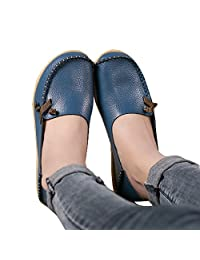 Lucksender Womens Soft Leather Comfort Driving Loafers Shoes