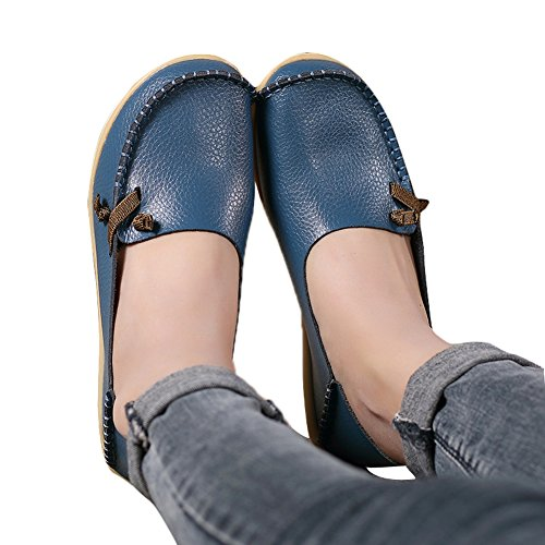 Lucksender Damen Weichleder Comfort Driving Loafers Schuhe Hellblau