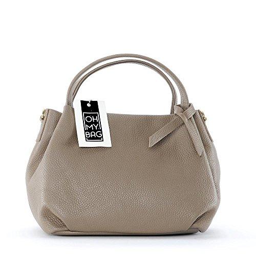 Sac à main en cuir Oh My Bag pour femme, avec poignées et bandoulière, modèle Bubble Tortora Light