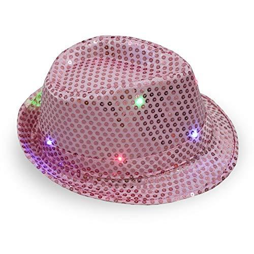 Jazz Lumière Danse Red Chapeau Noël Concert Spectacle De Led Pink Pour Fête Clignotant Cardmoe rose Led Casquette Le Scène H5wqtHp