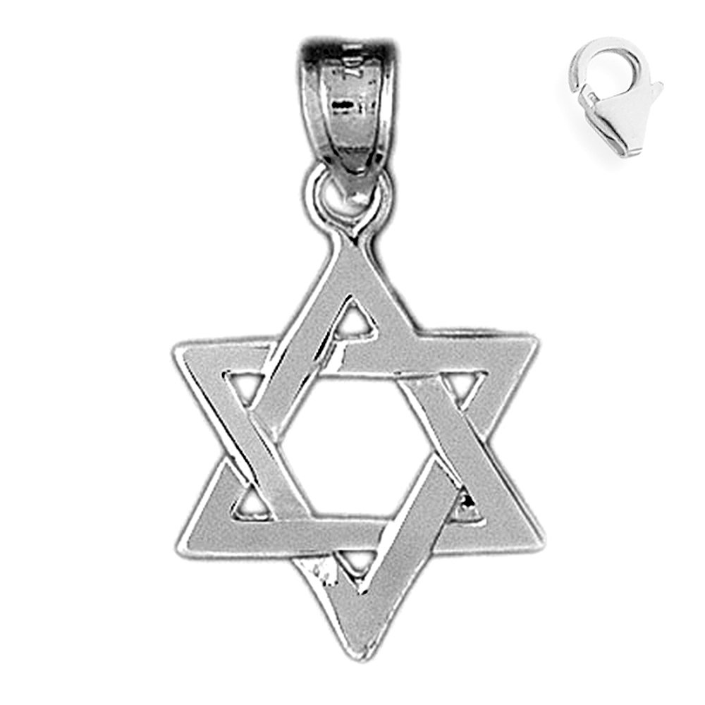 Jewels Obsession 14K White Gold Star of David Pendant 17 mm