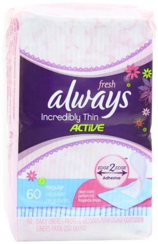 Always Incredibly Thin Active Feminine Panty Liners for Women, Wrapped, Scented 60 Count - Pack of 4 (240 Count Total) (Pantiliners Thin Always)