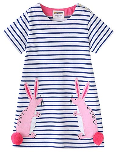 (Fiream Girls Cotton Short Sleeves Casual Bunny Cartoon Summer Striped Printed)