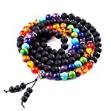 Domika 6mm Lava Rock Stone 7 Chakra Healing Crystal Beads Meditation Bracelet with Tree of Life Charm (Multi color 8mm)
