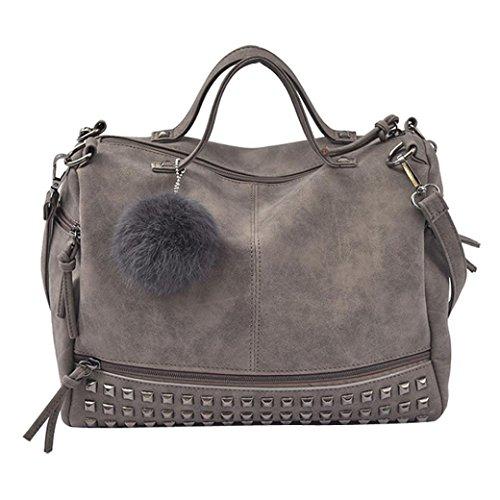 Suede Satchel Purse - Fullfun Women Girls Rivet Top Handle Handbag,Large Tote Satchel Crossbody Bag (gray)