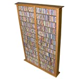 Venture Horizon Double 76-Inch Tall CD DVD Wall Rack Media Storage - Oak