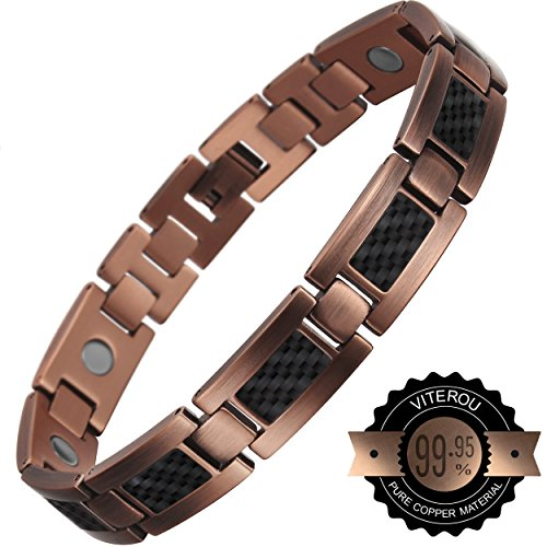 VITEROU-Mens-Magnetic-Pure-Copper-Therapy-Carbon-Fiber-Bracelet-High-Powered-for-Arthritis3500-Gauss