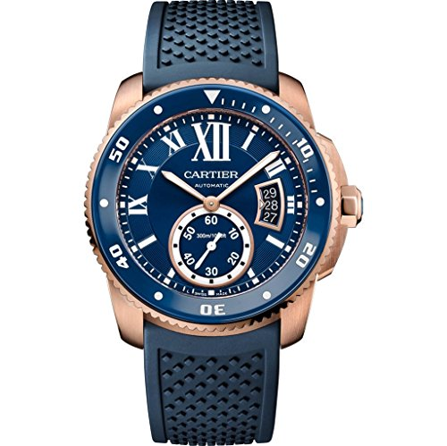 Cartier Calibre Diver Blue Rubber Band Automatic Men's Watch WGCA0010