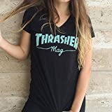 Thrasher Mag Logo Girls V-Neck Short Sleeve M-Black/Mint T-Shirt