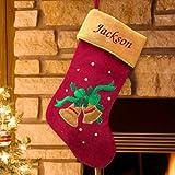 "GiftsForYouNow Christmas Bells Embroidered Stocking, 18.5"""