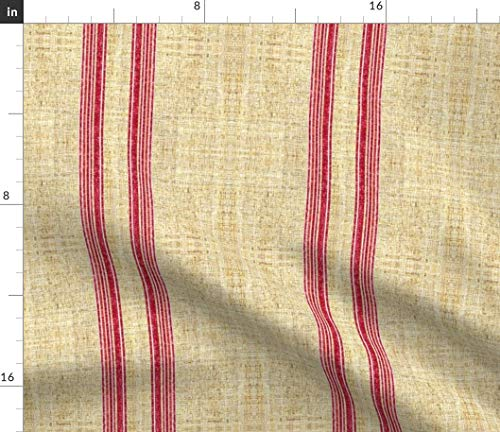 - Spoonflower Ticking Fabric - Faux Linen Vintage Grain Sack Stripe Texture Red Beige Joan Print on Fabric by The Yard - Velvet for Upholstery Home Decor Bottomweight Apparel