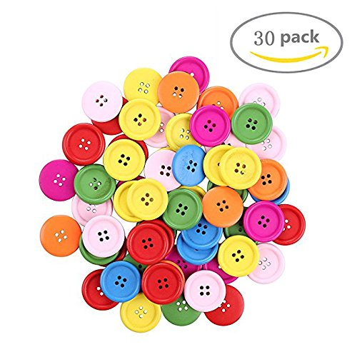 Shindel Crafts Mixed Buttons Round Shape and DIY Craft,Mixed Colored , 30 (Father's Day Preschool Crafts)