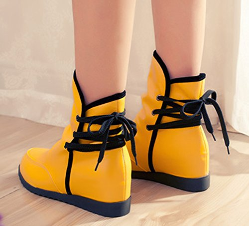 Yellow Heels Aisun Elevator Back Lace Shoes Dress Boots Toe Fashion Short Round Low Up Womens vanqv6T